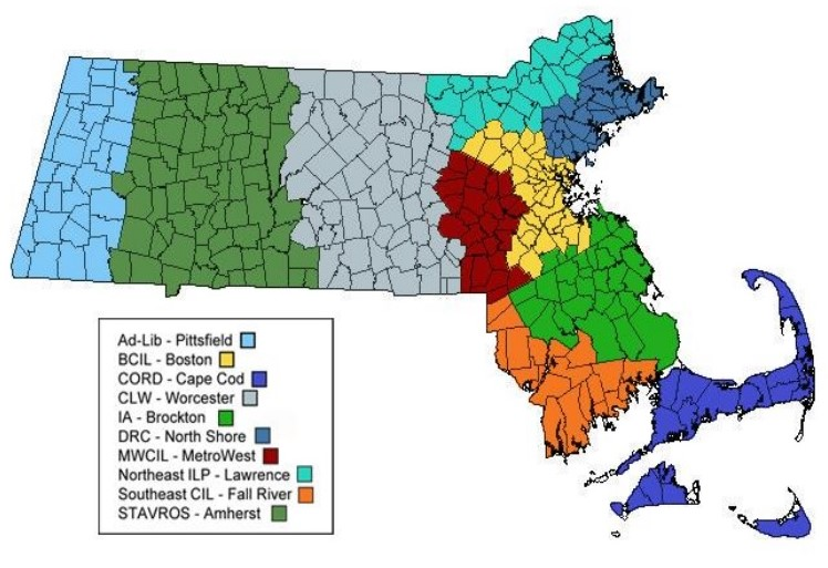 Map of Massachusetts Centers for Independent Living Service Areas